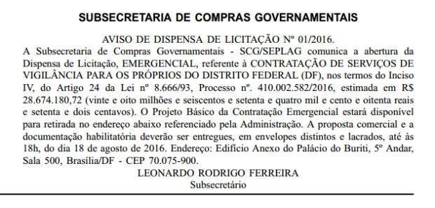 GDF abre novo edital para contratar serviços de vigilância sem licitação