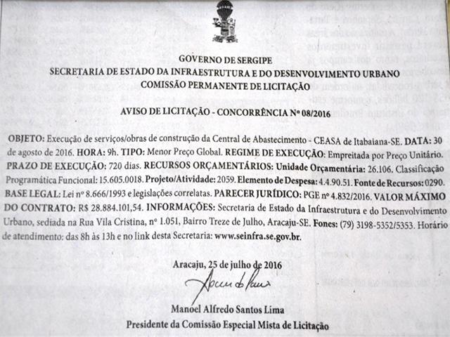 Governo anuncia aviso de licitação para construção do Ceasa em Itabaiana (SE)